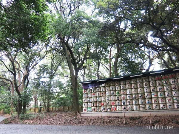 Những thùng rượu Sake được người dân từ khắp nước Nhật quyên tặng đền Meiji